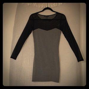 Black mesh and grey mini dress